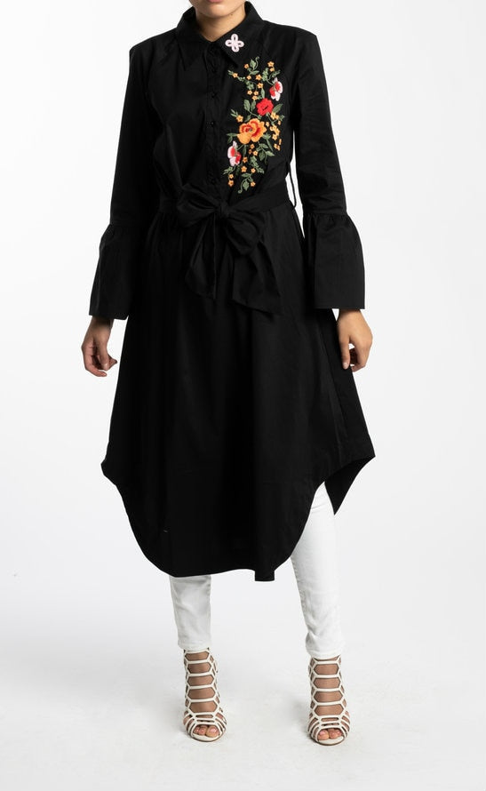 BLACK EMBROIDERED MIDI TUNIC - www.abayaaddict.com