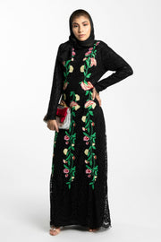 FLORAL EMBROIDERED LACE MAXI DRESS- BLACK - www.abayaaddict.com