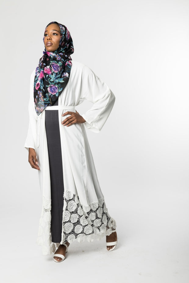 OFF-WHITE OPEN Abaya with FLORAL LACE - www.abayaaddict.com