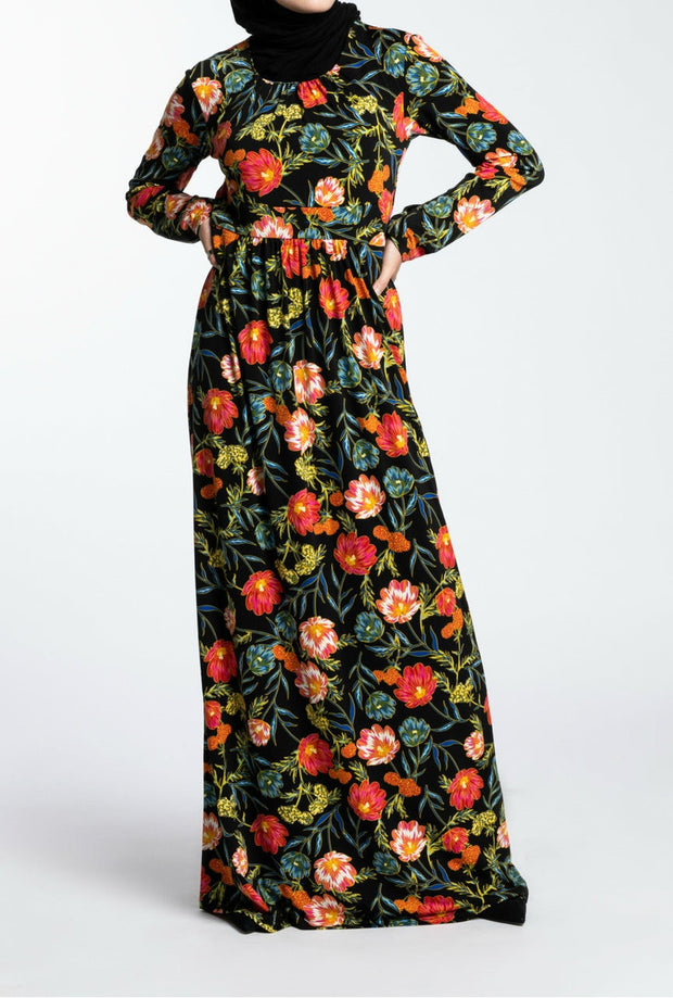 SOLIDIFY JERSEY MAXI- NIGHT FLOWER - www.abayaaddict.com