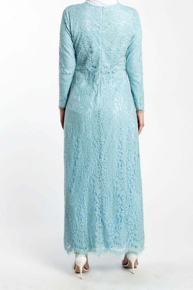 FLORAL EMBROIDERED LACE MAXI DRESS- BLUE - www.abayaaddict.com