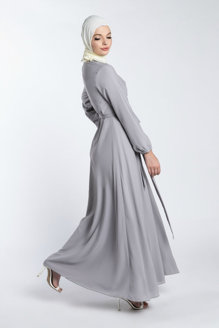 ELEGANCE CHIFFON DRESS- GREY - www.abayaaddict.com
