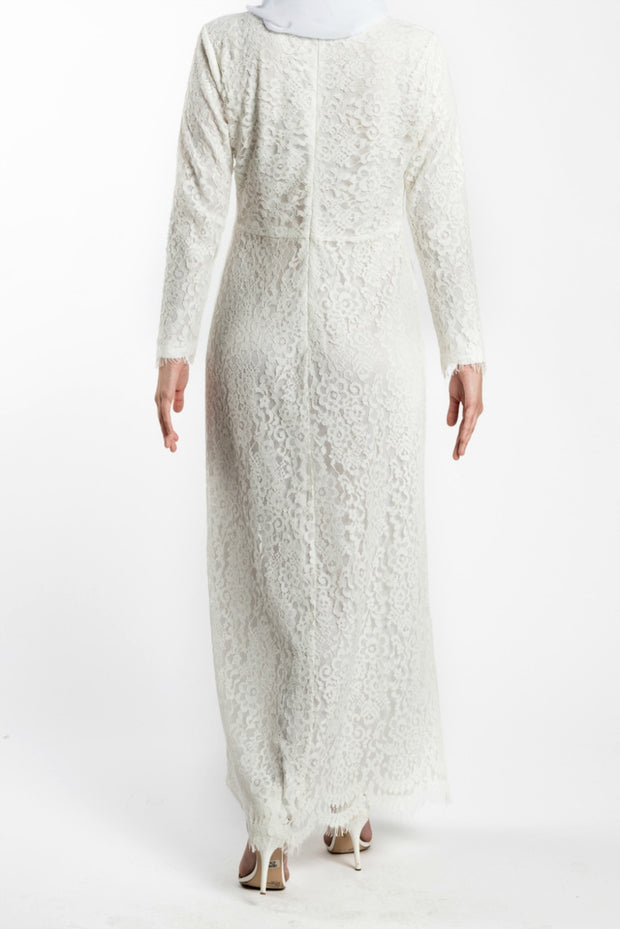 FLORAL EMBROIDERED LACE MAXI DRESS- WHITE - www.abayaaddict.com