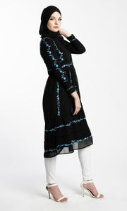 EMBROIDERED CHIFFON DRESS- BLACK