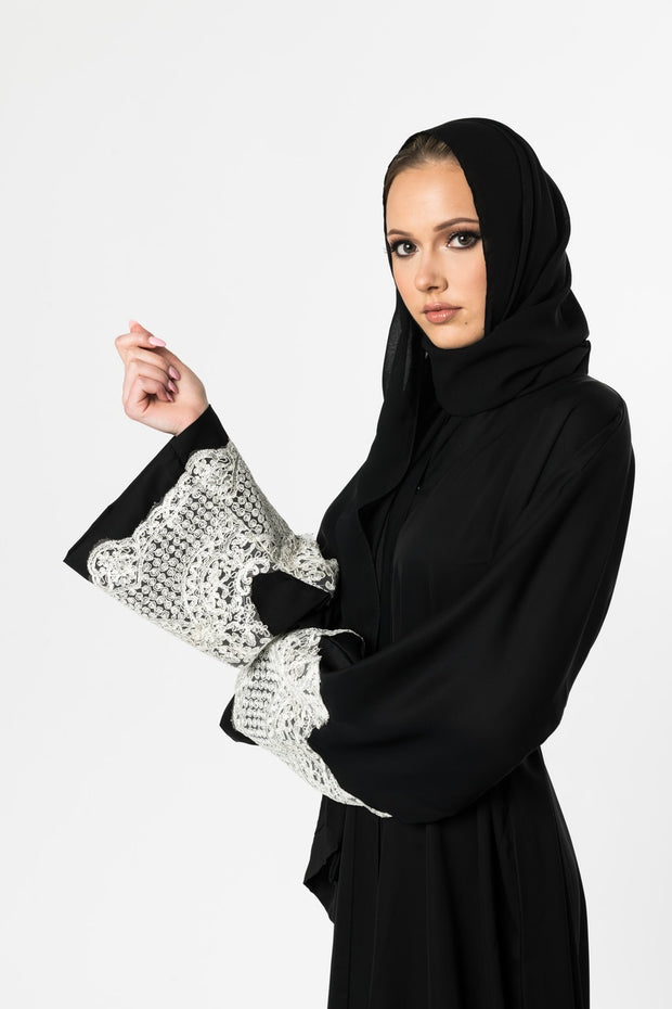 BLACK OPEN ABAYA with Lace Cuffs
