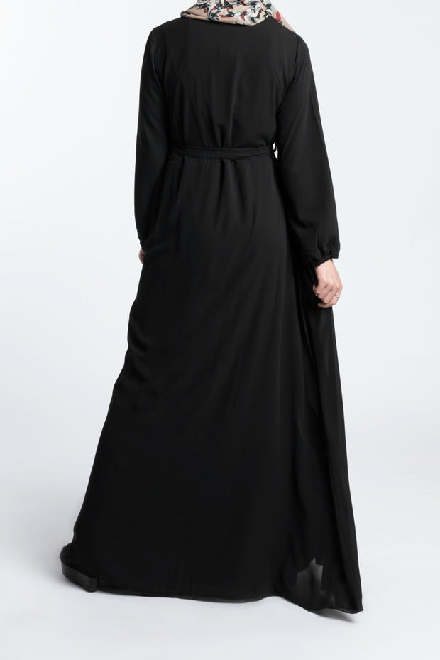 ELEGANCE CHIFFON DRESS- BLACK - www.abayaaddict.com