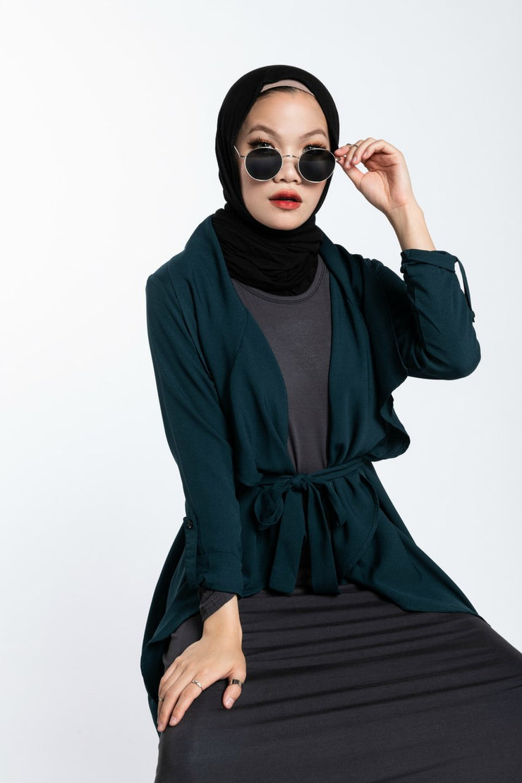 WATERFALL TRENCH CARDIGAN- DEEP EMERALD GREEN