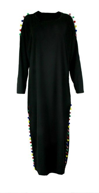 Oversized Pom Pom Accent Sweater Dress- Black - www.abayaaddict.com