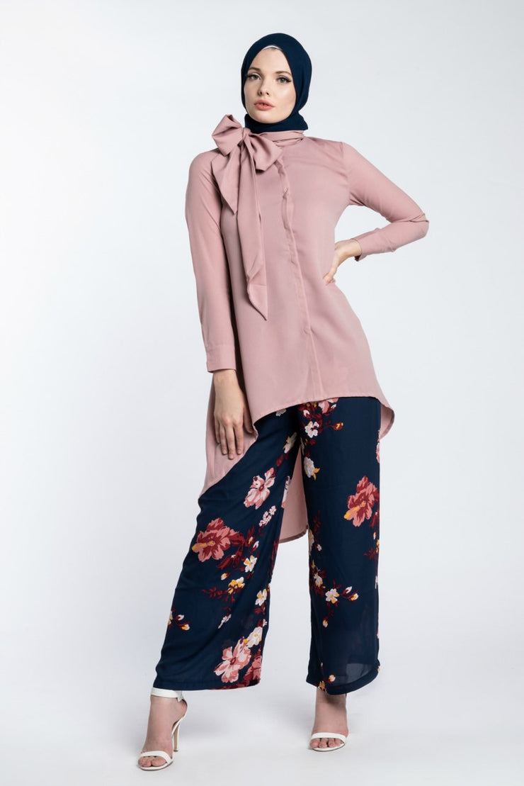 HI LOW BOWTIE WORKSHIRT- BLUSH PINK - www.abayaaddict.com