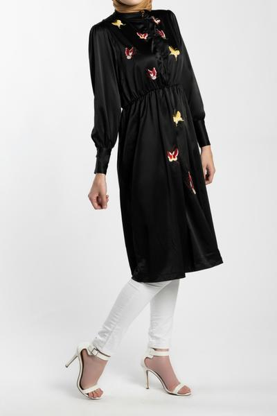 EMBROIDERED BUTTERFLY MIDI DRESS-  BLACK