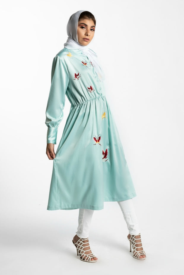 EMBROIDERED BUTTERFLY MIDI DRESS-  BLUE - www.abayaaddict.com