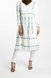 EMBROIDERED CHIFFON DRESS- WHITE