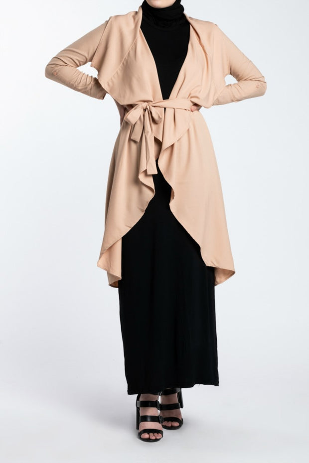 WATERFALL TRENCH CARDIGAN- BEIGE