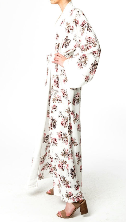 OFF-WHITE FLORAL ABAYA
