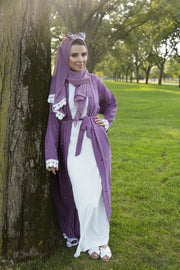 PURPLE and WHITE TRIM PEARL OPEN ABAYA - www.abayaaddict.com