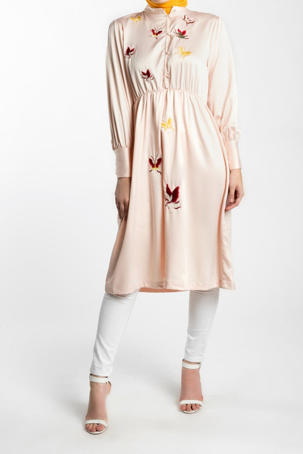 EMBROIDERED BUTTERFLY MIDI DRESS-  PINK