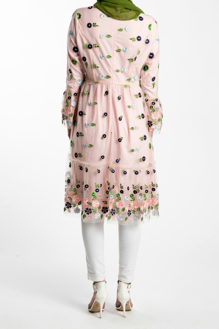 EMBROIDERED FLARE MIDI DRESS- PINK - www.abayaaddict.com