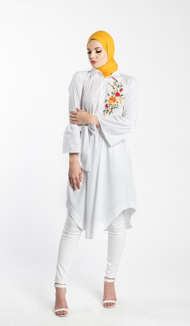 WHITE EMBROIDERED MIDI TUNIC - www.abayaaddict.com