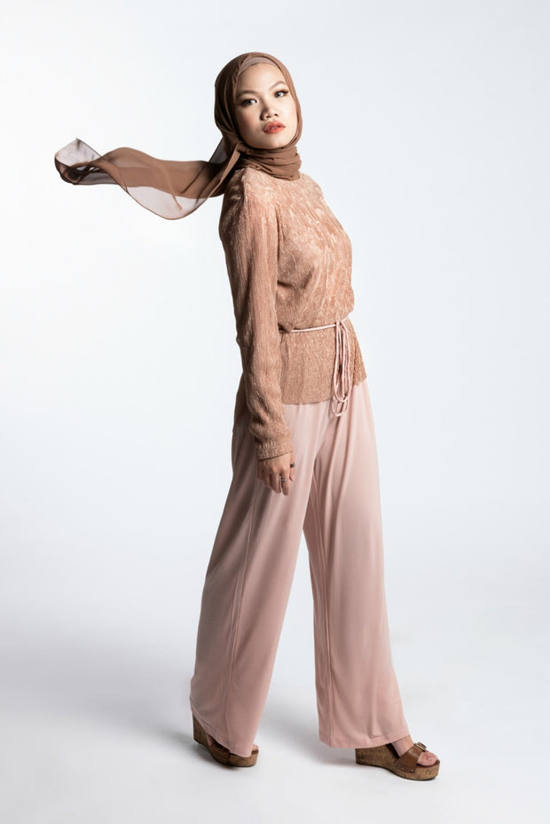 METALLIC JUMPSUIT- BLUSH