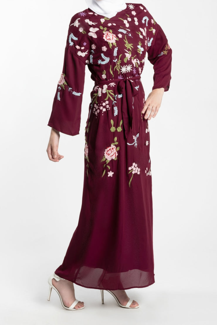 EMBROIDERED CHIFFON MAXI DRESS-- RED - www.abayaaddict.com