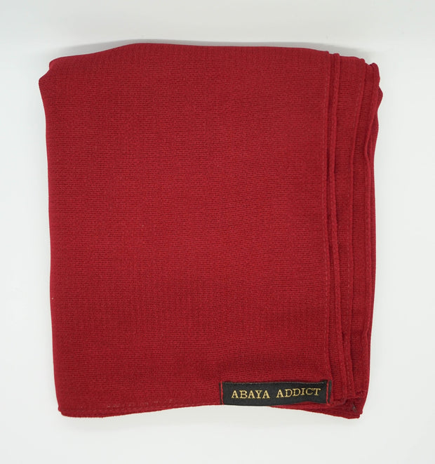 Cranberry Red Linen Hijab - www.abayaaddict.com