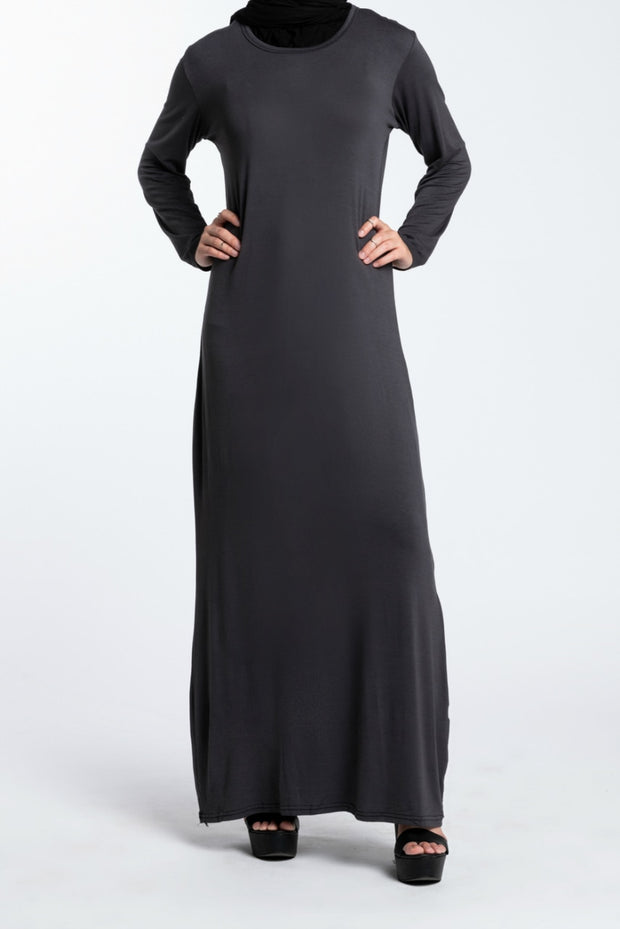 MAXI PENCIL DRESS- GREY - www.abayaaddict.com