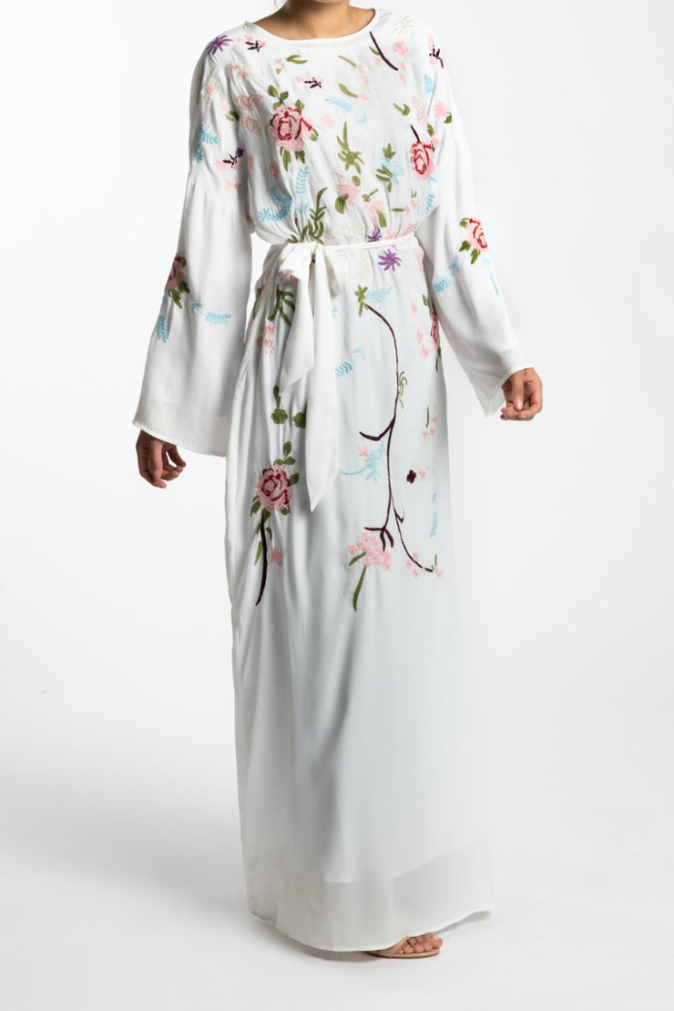 EMBROIDERED CHIFFON MAXI DRESS-  WHITE