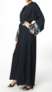 NAVY OPEN KIMONO ABAYA with SEQUIN Cuffs
