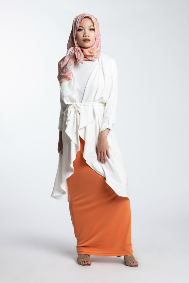 WATERFALL TRENCH CARDIGAN- WHITE - www.abayaaddict.com