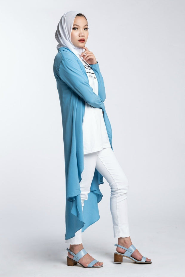 HI LOW CARDIGAN- LIGHT BLUE - www.abayaaddict.com