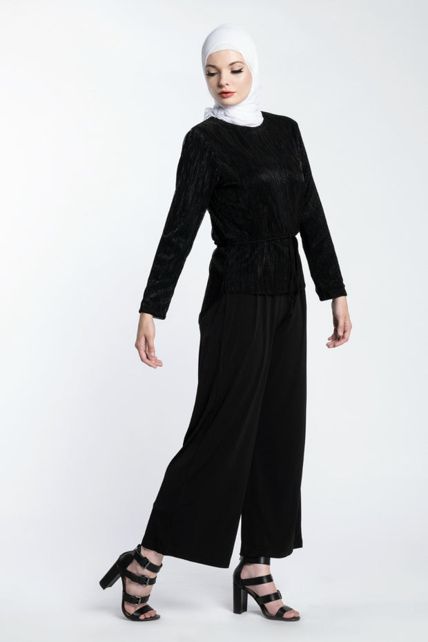 METALLIC JUMPSUIT- BLACK