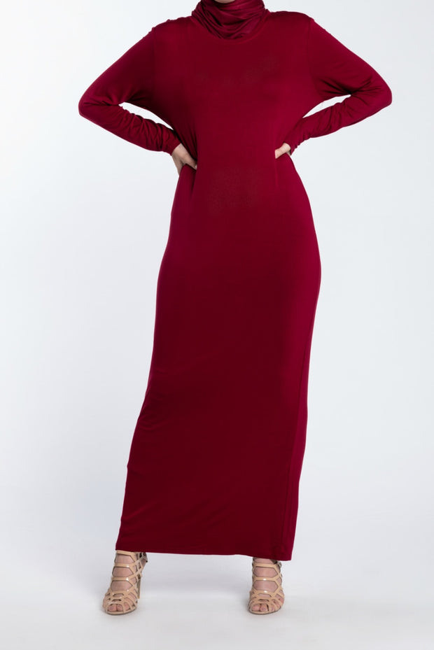 MAXI PENCIL DRESS- MAROON - www.abayaaddict.com