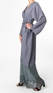 GREY OPEN Abaya with Abstract LACE - www.abayaaddict.com