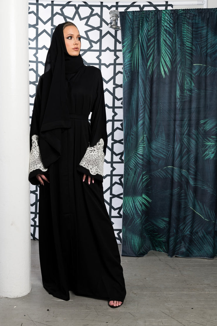 BLACK OPEN ABAYA with Lace Cuffs - www.abayaaddict.com
