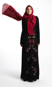 EMBROIDERED MAXI DRESS-BLACK - www.abayaaddict.com
