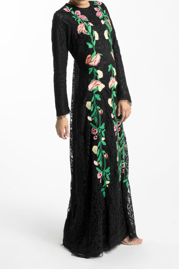 FLORAL EMBROIDERED LACE MAXI DRESS- BLACK