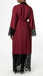 MAROON OPEN ABAYA with BLACK LACE and BLACK PEARLS