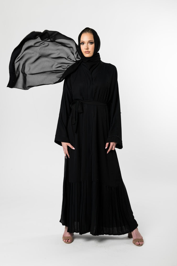 BLACK OPEN ABAYA with PLEATING and BLACK PEARLS - www.abayaaddict.com