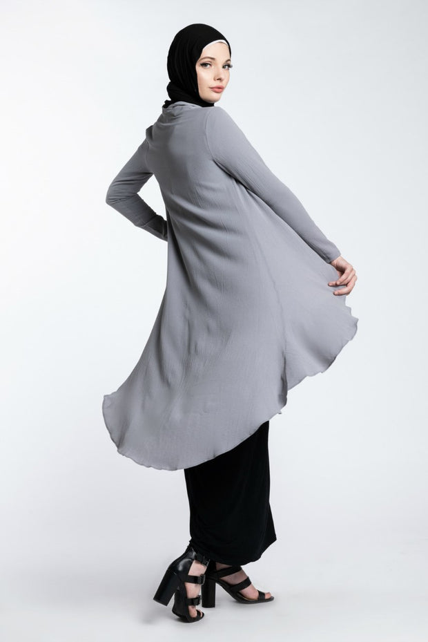 HI LOW CARDIGAN- GREY - www.abayaaddict.com