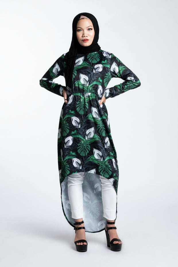 COMFORT HI-LOW MIDI DRESS- DARK TROPICS - www.abayaaddict.com