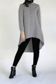 HI LOW WORKSHIRT- GREY