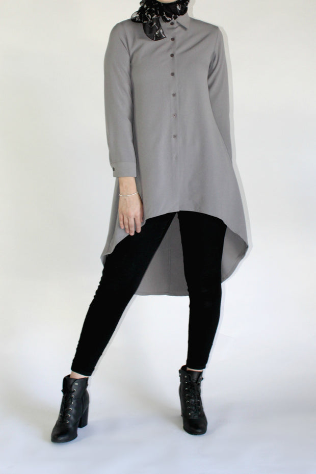 HI LOW WORKSHIRT- GREY - www.abayaaddict.com