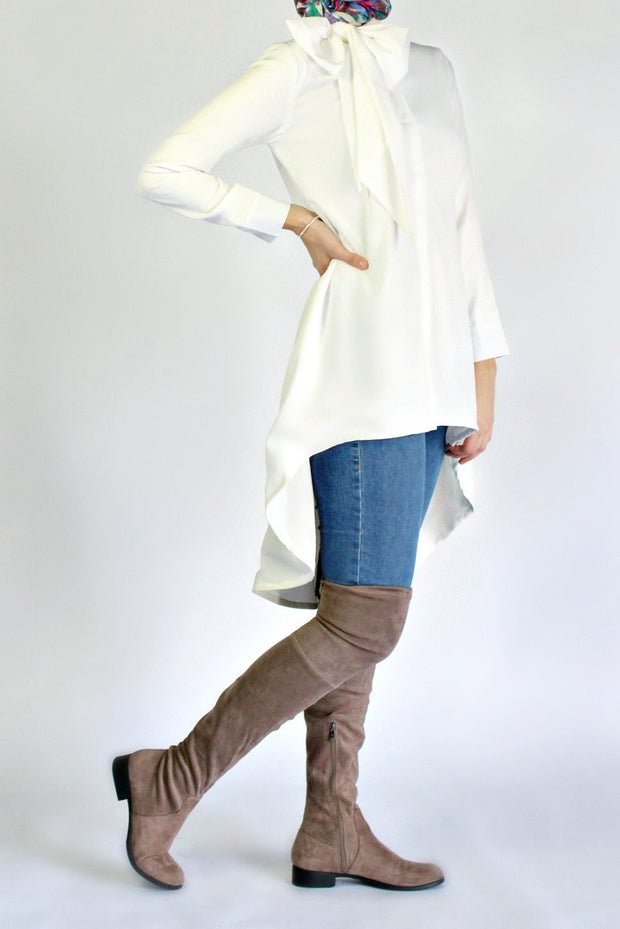 HI LOW BOWTIE WORKSHIRT- WHITE - www.abayaaddict.com