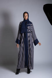 Navy and Pink Striped Abaya - www.abayaaddict.com