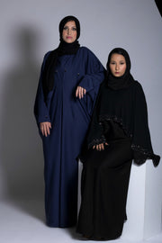 Navy Butterfly Closed Abaya - www.abayaaddict.com