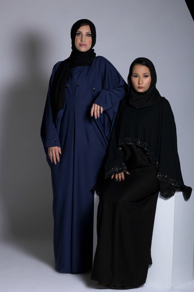 Black Cape Crystal Abaya with Closed bodice. - www.abayaaddict.com