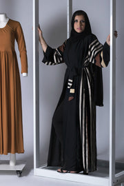 Brown and Black Linen Open Kimono Abaya - www.abayaaddict.com