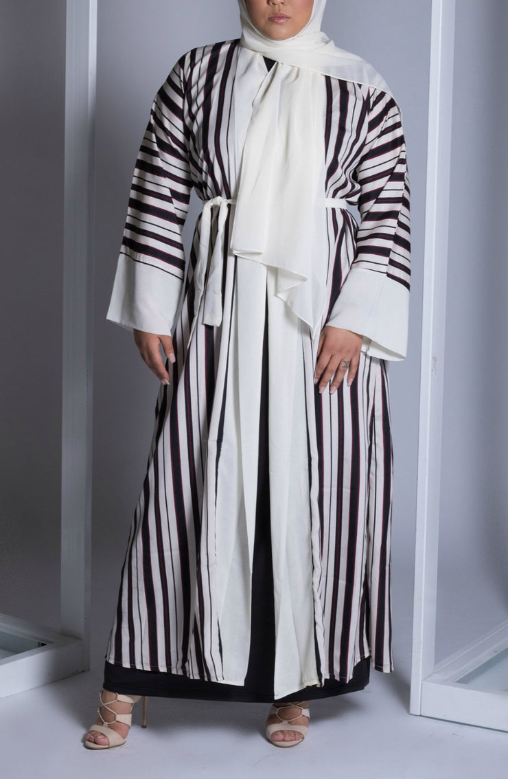 Cream Red and Black Striped Open Kimono Abaya - www.abayaaddict.com