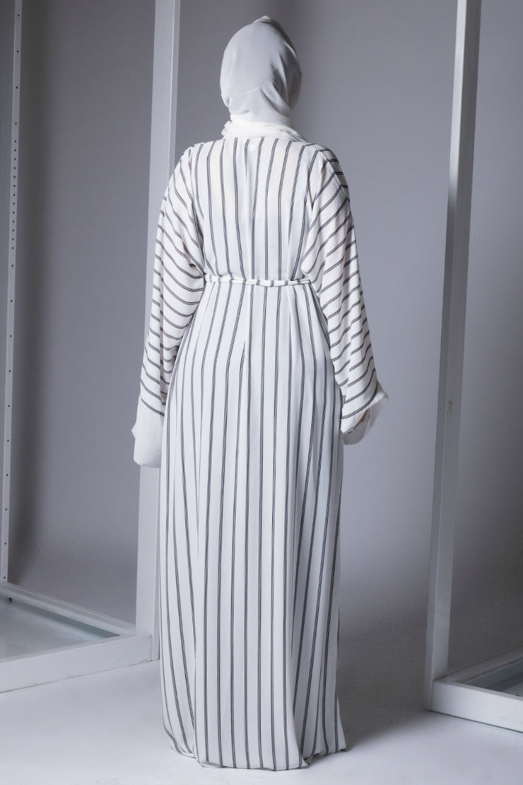 White and Black Striped Open Kimono Abaya - www.abayaaddict.com