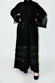 BLACK OPEN CRYSTAL FRINGE ABAYA